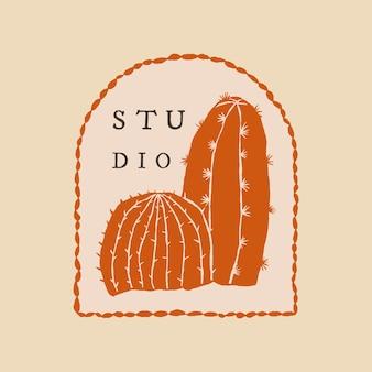 Netter kaktusstudio-logovektor auf beigem hintergrund