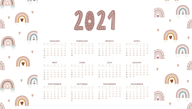 Netter kalender 2021 mit boho regenbogen für kinder. karikaturillustration. vorlage im skandinavischen stil.