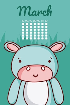 Netter kalender des flusspferds mit tagen und monat