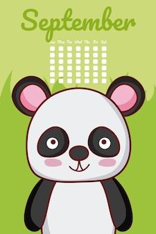 Netter kalender des pandabären mit tagen und monat