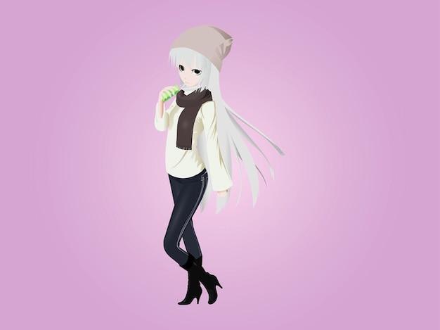 Netter kalt manga girl vector