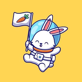 Netter kaninchen-astronaut, der mit karotten-flaggen-cartoon-symbol-illustration schwimmt. tier-technologie-symbol-konzept isoliert. flacher cartoon-stil