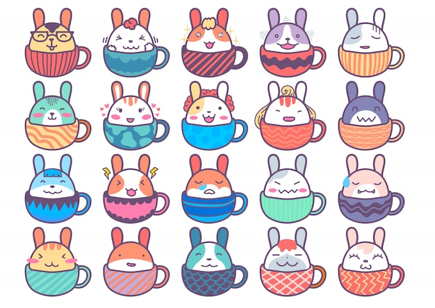 Netter kaninchen-charakter innerhalb der schale