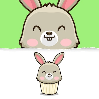 Netter kaninchen cupcake, tiercharakterentwurf.