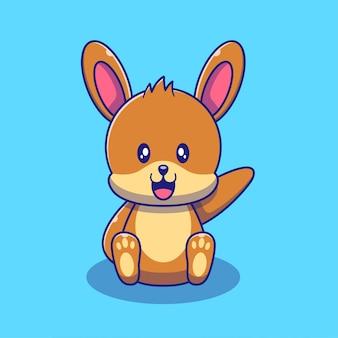 Netter kaninchen-häschen, der handillustration wellenartig bewegt. kaninchen tiere maskottchen cartoon charaktere symbol konzept isoliert.