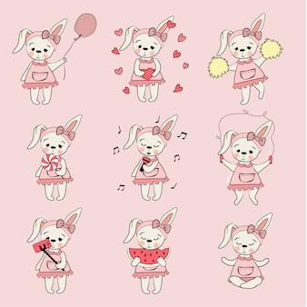 Netter Kaninchen-Karikatur-Handabgehobener betrag