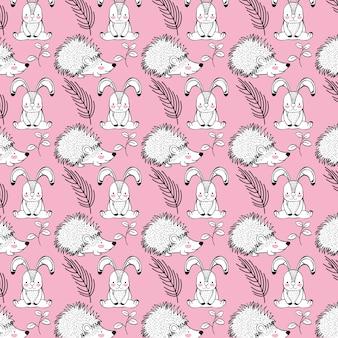 Netter kaninchen- und stachelschweintierhintergrund