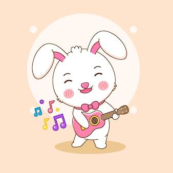 Netter kaninchencharakter, der gitarrenkarikaturillustration spielt