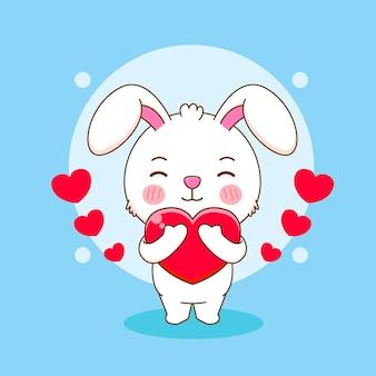 Netter kaninchencharakter, der liebesherzkarikaturillustration umarmt