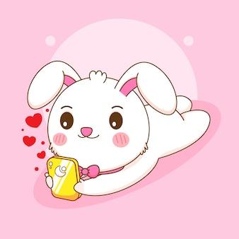Netter kaninchencharakter, der smartphonekarikaturillustration spielt