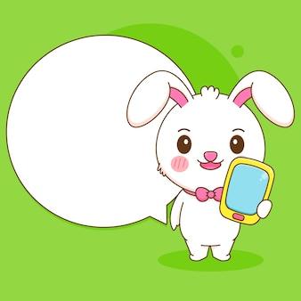 Netter kaninchencharakter, der telefon mit blasen-chat-cartoon-illustration hält