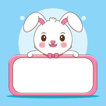 Netter kaninchencharakter mit leerer brettkarikaturillustration