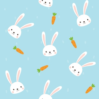 Netter kaninchencharakter mit nahtlosem muster der karotte