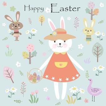 Netter kaninchenhäschen glücklich an ostern-tageskarikatur.