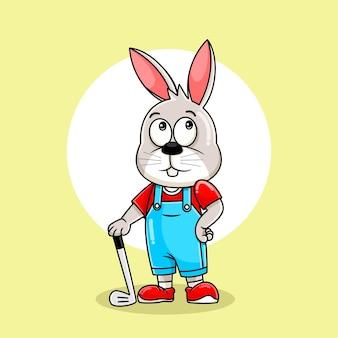 Netter kaninchenkarikatur, der mit stockgolfillustration aufwirft