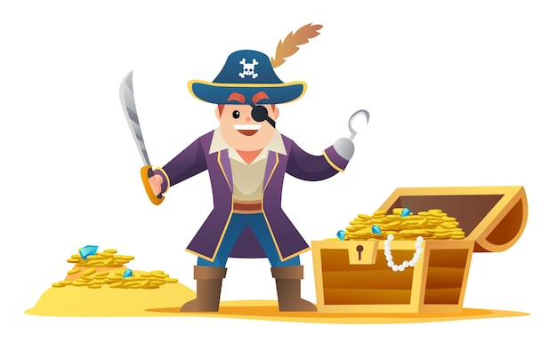 Netter kapitän pirat, der schwert mit schatzkarikatur hält
