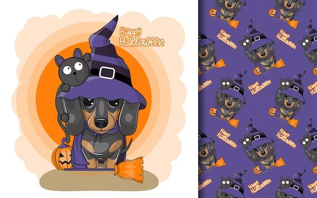 Netter karikatur-dackel mit halloween-gewohnheit und mustersatz