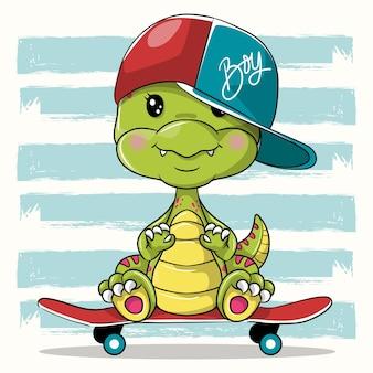 Netter karikatur-dino mit skateboard auf weißem hintergrund