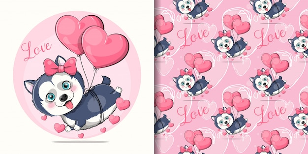 Netter karikatur-husky-welpe, der mit herzballons fliegt