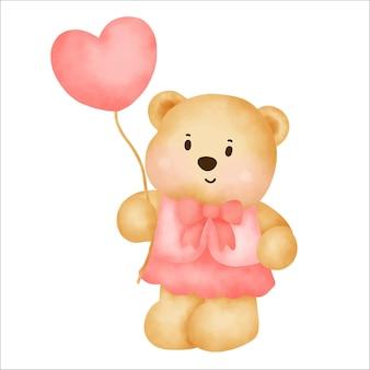 Netter karikatur-teddybär, der einen herzballon-aquarellstil hält.