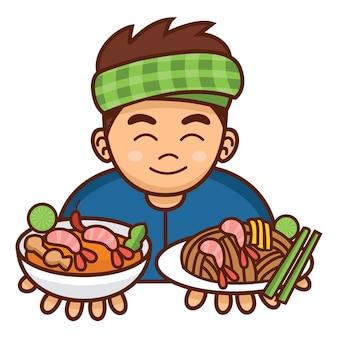 Netter karikatur-thai-mann, der pad thai und tom yum-suppe, illustration dient