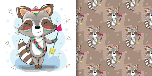 Netter karikatur-waschbär-boho mit pfeilillustration für kinder