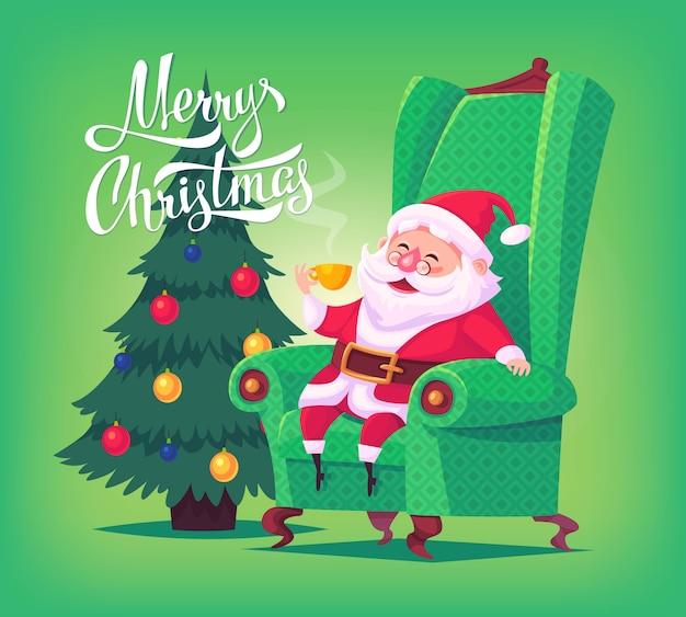 Netter karikatur-weihnachtsmann, der im stuhl sitzt tee trinkt frohe weihnachten illustration grußkartenplakat