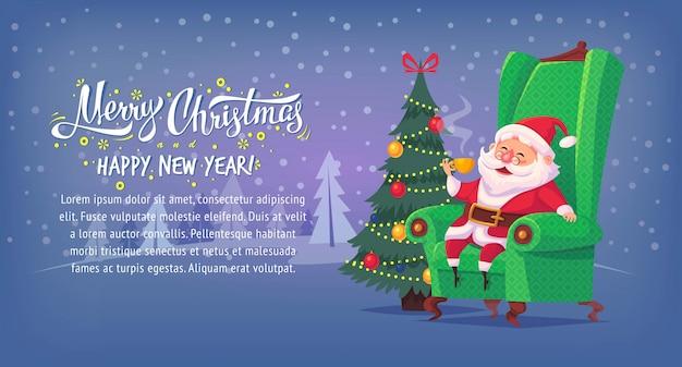 Netter karikatur-weihnachtsmann, der im stuhl sitzt, trinkt tee frohe weihnachten illustration horizontales banner
