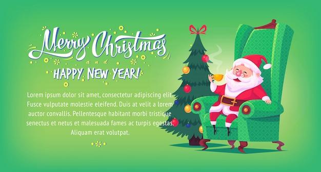 Netter karikatur-weihnachtsmann, der im stuhl sitzt, trinkt tee frohe weihnachten illustration horizontales banner.