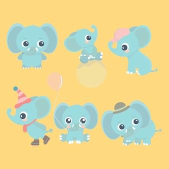 Netter karikaturbaby-elefantensatz. entzückende kleine elefanten, grußkartengestaltungselemente.