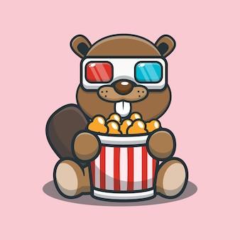Netter karikaturbiber, der popcorn isst und einen 3d-film ansieht