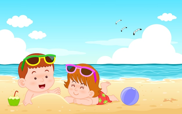 Netter karikaturcharakterjunge und -mädchen der vektorillustration, die am strand und am meer der sommerferien liegen