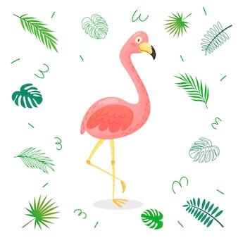 Netter karikaturflamingo mit tropischen blättern