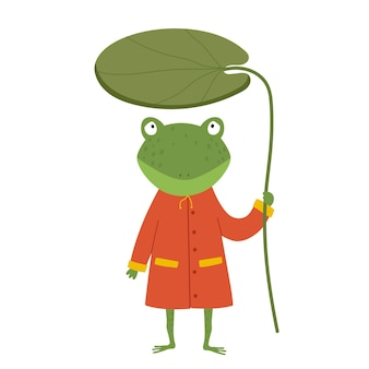 Netter karikaturfrosch im regenmantel frosch hält eine seerose in seinen händen