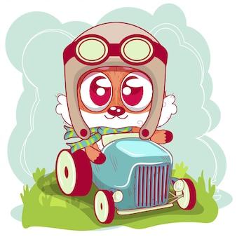 Netter karikaturfuchs geht auf ein auto
