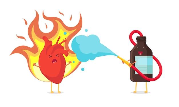 Netter karikaturherzcharakter, der und ungesunde kranke schmerzemotion brennt. braune medizinflasche löscht ein feuer wie ein feuerwehrmann. menschliches inneres kreislauforgan in flammen und mit beruhigungsmitteln behandelt. eps