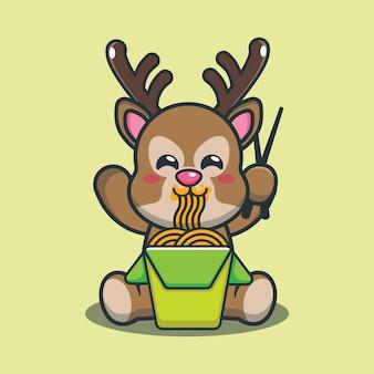 Netter karikaturhirsch, der nudel isst