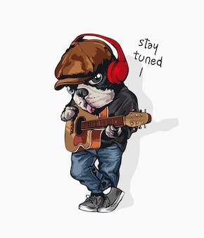 Netter karikaturhund mit klassischer gitarrenillustration