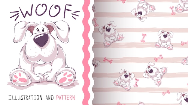 Netter karikaturhund - nahtloses muster