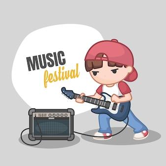 Netter karikaturjunge, der gitarre spielt
