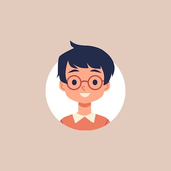 Netter karikaturjunge mit brille und schwarzem haar - kreisporträt mit lächelndem kind auf weißem hintergrund. kleine schulkindzeichnung - illustration.