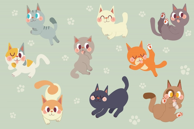 Netter karikaturkatzen-charaktersatz