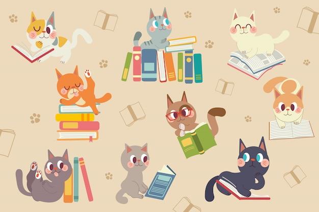 Netter karikaturkatzencharakter, der einen buchsatz liest