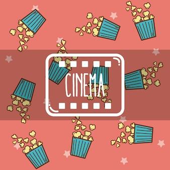 Netter karikaturmuster popcornhintergrund des kinos