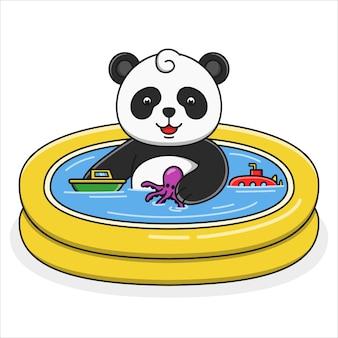 Netter karikaturpanda, der illustration badet