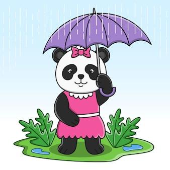 Netter karikaturpanda, der regenschirmillustrationsentwurf hält