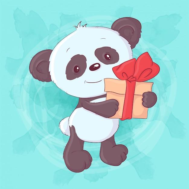 Netter karikaturpanda mit einem geschenk und einem bogen. handzeichnung