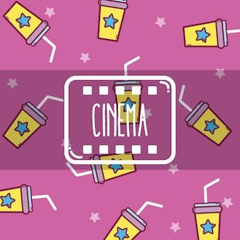 Netter karikatursoda-schalenhintergrund des kinos