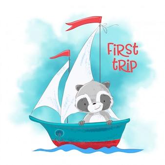 Netter karikaturwaschbär auf einem segelschiff.
