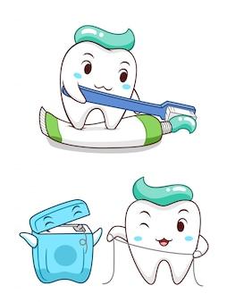 Netter karikaturzahn, der die zahnpasta zusammendrückt und mit zahnseide sich säubert.